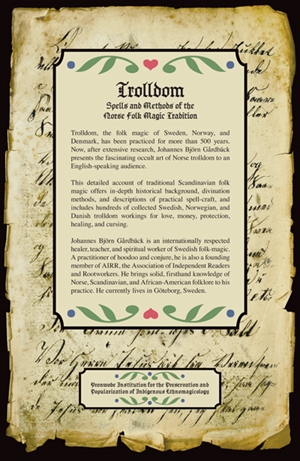 Trolldom book. Back cover.